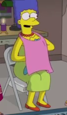 Marge pretends to breastfeed Maggie